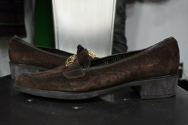 Salvatore Ferragamo Gancini loafers 8.5 B leather shoes brown womens  - $100.00