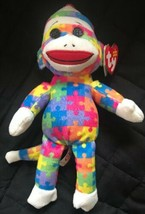 """TY 9"""" SOCK MONKEY ( PUZZLE) BEANIE BABY 2013 MWMT Colorful Retired - $19.79"""