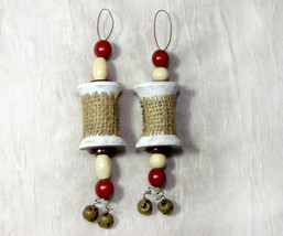 Pair of Handcrafted Vintage Thread Spool Christmas Ornaments - $14.98