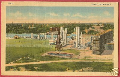 TEXAS OIL REFINERY 1952 Linen postcard TX