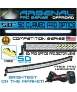 5D+ 50INCH ARSENAL CREE CURVED LED Light Bar Spot Flood Combo Offroad 4W... - $169.24