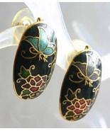 Black Cloisonne Enamel Flowers & Butterfly Pierced Earrings 1970s vint. - $12.95