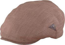 Henschel Handmade Linen Ivy League Driver Cap Leather Inserts Brown Beige - $51.00