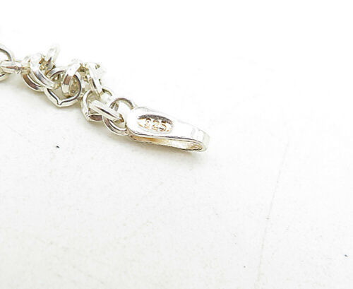 925 Silver - Vintage Cubic Zirconia Pressed Clover Heart Chain Bracelet - B5280