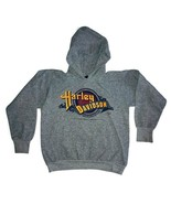 Harley Davidson Men Medium Vintage 1993 3D Emblem Hoodie Sweatshirt Gray... - $37.39