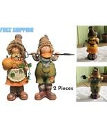 Outdoor Garden Decor Farmhouse Patio Lawn Yard Art 2 Scarecrow Statue Sc... - £47.25 GBP