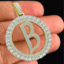 """Initial Letter """"B"""" Pendant Round Cut White CZ 10kt Yellow Gold Plated 925 Silver - $144.90"""