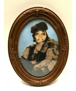 Antique Oval Victorian Picture Frame Gesso Convex Glass African American... - $184.13