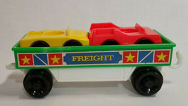 Green Flatbed Train Car + 2 Cars Fisher-Price #2581 Little People Express 87-90 - $19.79