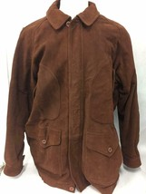 Eddie Bauer Mens Brown Leather Jacket with Cotton Lining XL - $123.74