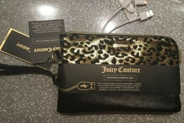 NWT. Juicy Couture Black/Leopard Charging Cosmetic Bag Zip Wristlet Wall... - $38.99