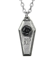 Alchemy Gothic RIP Resin Rose Pendant Coffin Casket Fine English Pewter ... - $14.45