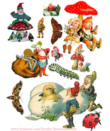 Elves gnomes die cuts clipart digital download craft sheet graphics art ... - $2.99