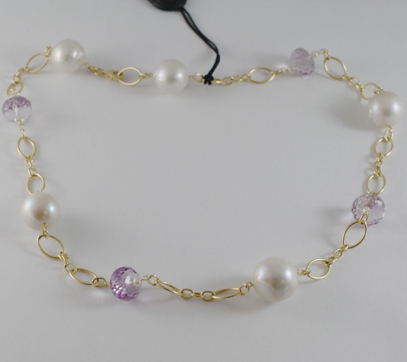 18K YELLOW GOLD NECKLACE BIG WHITE PEARLS & CUSHION AMETHYST CHAIN MADE IN ITALY