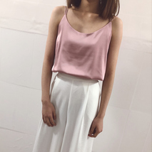 Summer Sleeveless Silky Tanks Top Dusty Pink Party Tanks Wedding Bridesmaid Tops image 2
