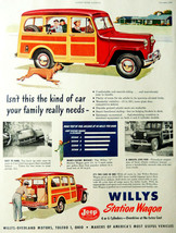 Vintage 1949 Willys station wagon woody car auto advertisement print ad - $12.99