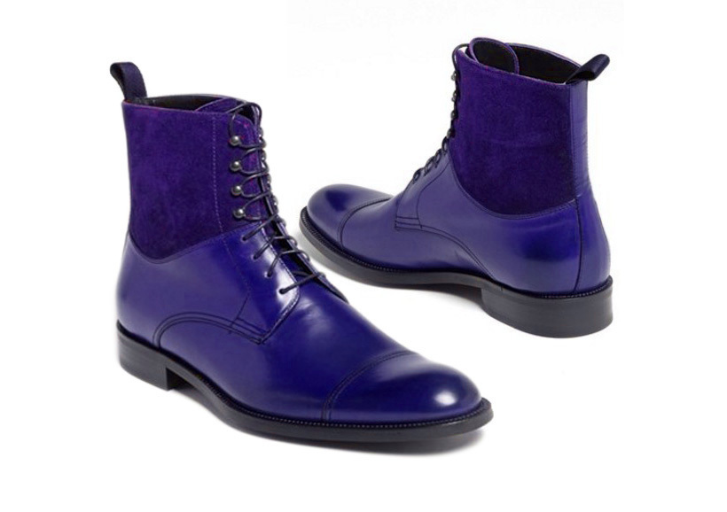 Royal Blue Color Rounded Toe HighAnkle Oxford Superior Leather Men Stylish Boots image 2