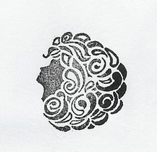 1960's Lady Head side view silouette  Rubber Stamp - $8.99