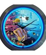 Aquarium Dolphins Neon Clock Pair 15 Inch Set 2 Man Cave Office Garage Bar - $137.60