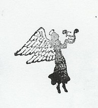 Angel side view holding harp silouette rubber stamp  - $9.95