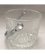 Vintage Clear Glass Chrome Ice Bucket Teleflora Party France Textured Ba... - $25.94