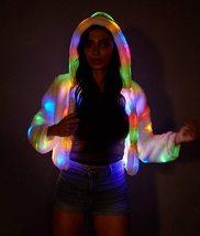 LED Jacket Light Up Rave Stage Faux Fur Coat image 4