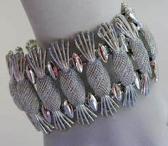 "Vtg Simply Elegant 1960's Bracelet Pineapple Sarah Coventry 7"" Extra Wide 1 1/2 - $12.99"