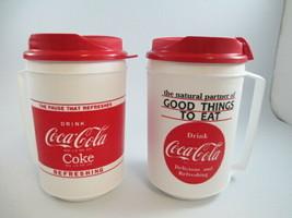 Coca-Cola Set of 2 Plastic Insulated Travel Mug Retro White Good Things ... - $10.89