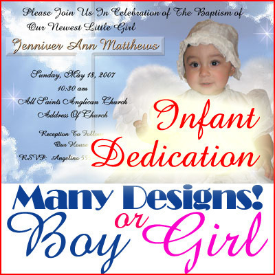 Baby Child Infant Dedication invitation Card Thank You