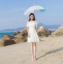 2017 Summer Beach Dress Cute Style White Lace Dresses Women Short Dress ... - $42.84