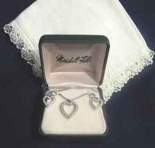 1956 Rhinestone Heart on Chain with Matching Screw-On Earrings - $4.95