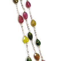 18K WHITE GOLD NECKLACE, PURPLE GREEN YELLOW DROP TOURMALINE, ROLO CHAIN image 4