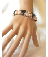 New Pink & Black Oldies Style  Beads Stretch Rhinestones  Silver Bracelet  - $4.99