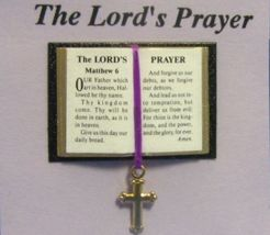 Dollhouse Bible English Lord's Prayer 4919 Jacqueline cross bookmark Min... - $5.60