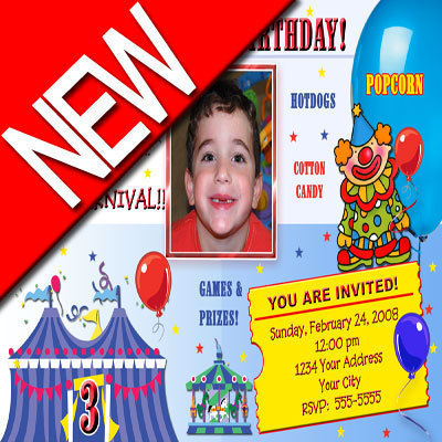 Primary image for Carnival Circus Custom Photo Boy Birthday Party Invitation