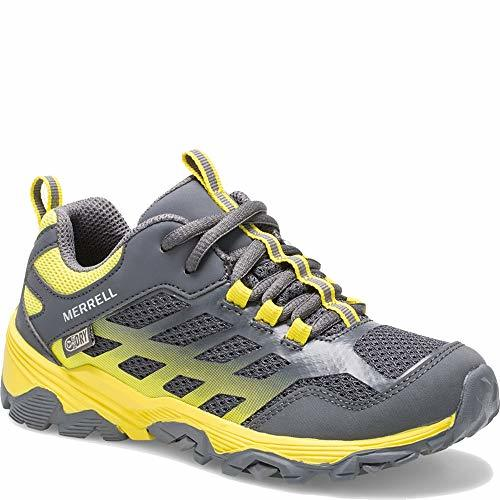 Merrell Boys' Moab FST Low WTRPF Hiking Shoe, Grey/Yellow, 05.5 W US Big Kid