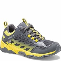 Merrell Boys' Moab FST Low WTRPF Hiking Shoe, Grey/Yellow, 05.5 W US Big... - $59.06