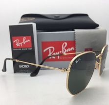 New RAN-BAN Sunglasses HEXAGONAL RB 3548-N 001 48-21 140 Gold Frame w/ G15 Green image 6