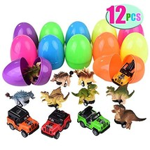"""Mitcien 12 Pack 4"""" Easter Eggs Toys Filled with Dinosaur Jeep Pull Back Cars, Gi"""