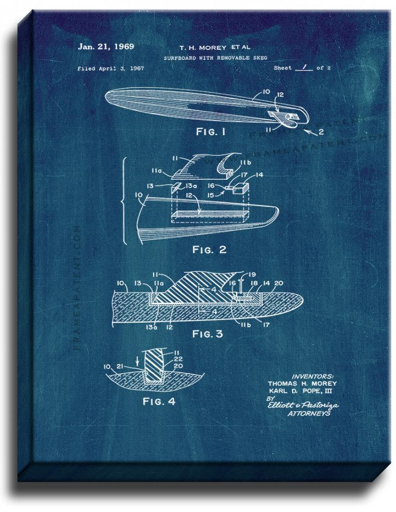 Primary image for Surfboard With Removable Skeg Patent Print Midnight Blue on Canvas