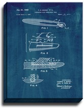Surfboard With Removable Skeg Patent Print Midnight Blue on Canvas - $39.95+