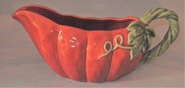 Fall Thanksgiving Gravy Boat Server Creamer Pitcher  Pumpkin Ceramics  - $12.50