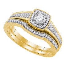 10k Yellow Gold Round Diamond Bridal Wedding Engagement Ring Band Set 1/3 Cttw - $598.00