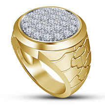 Mens Diamond Wedding Anniversary Ring 14k Gold Finish 925 Sterling Solid... - $92.87