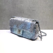 NEW AUTHENTIC CHANEL LIMITED RUNWAY BLUE SEQUIN MEDIUM  FLAP BAG RARE image 4