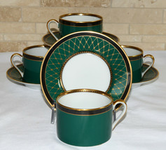 Fitz & Floyd Chaumont * 4 SETS CUPS & SAUCERS * Teal Green, Mint Condition! - $99.99