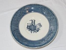"""Vintage Currier & Ives Paddle Wheel Riverboat Blue White Saucer 6 3/8"""" U... - $20.78"""