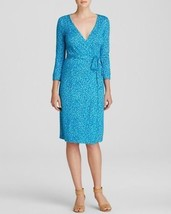 6 Diane Von Furstenberg Julian Two Blue Petal Dreams Silk Jersey Wrap Dress - $138.59