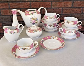 16 Pc Porcelain Teapot Sugar Creamer 6 Tea Cup Saucers Pot Missing Lid C... - $49.50