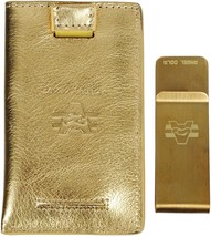Metallic Leather Slim Front Pocket Money Clip Wallet Gold - $12.26